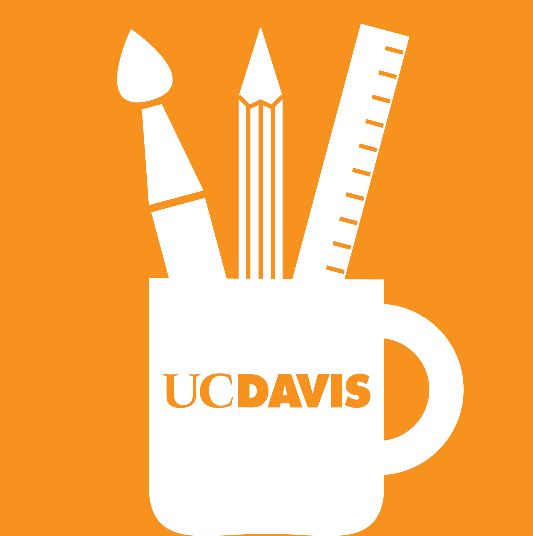 Orange UC Davis mug with tools